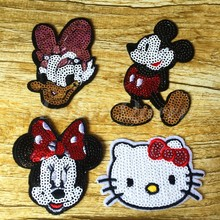 Hot Sale Cartoon Cloth Sequined Patches 8pcs/lot Mickey Mouse/Minnie/Daisy/Hello Kitty Garment Applique DIY Accessories(China)