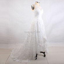 Real Sample High Low Wedding Dresses Puffy Mid Calf Luxury Lace Vestido De Festa Short Front Long Back Wedding Dresses 2017