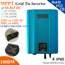 1000W MPPT solar Grid Tie Micro Inverter with IP65,50-86VDC,220V(190-260VAC) or 120V(90-140VAC),LED&LCD for solar panel system(China)