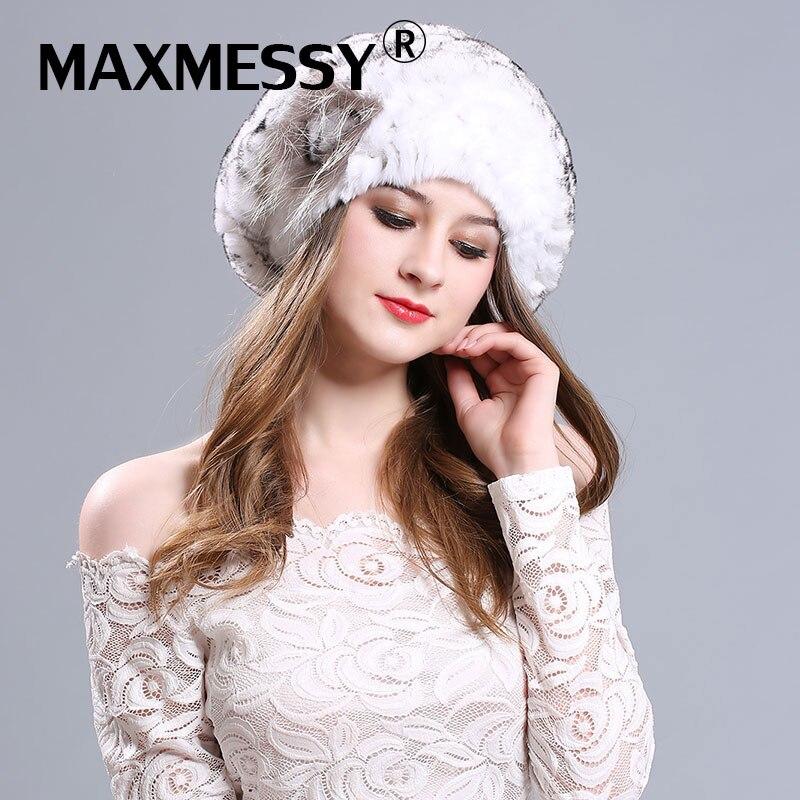 MAXMESSY Real Fur Hats for Women Beret Hat Knitting Caps for Girls Rex Rabbit Fur BeaniesHat Female Skull CapsÎäåæäà è àêñåññóàðû<br><br>