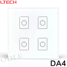 New DALI Dimmer Led Dimming Driver 86mm Touch Panel 4 CHannel Controller DA4 Wall Mount DALI Digital LED Driver Free Shipping