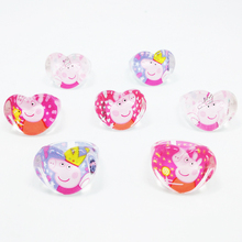 50pcs Lovely Heart-Shape Mix Cartoon Pig Girls Princess Children Kids Ring Party Supplies Birthday Gift Jewelry Accessories(China)