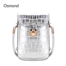 Osmond Sliver Mobile Phone Mini Bags Small Shoulder Bag Crocodile Leather Women Handbag Black Clutch Purse Handbags For Phones(China)