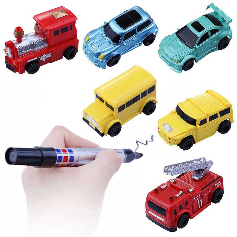 1pcs Mini Magic Pen Inductive Toy Car Model Series Puzzle Follow Any Line You Draw Toys For Children Boys Kids Birthday Gift 12