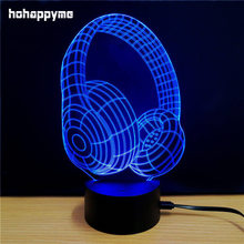 Headset 7 Colors Changing LED Sign Table Lamp Music Acrylic Sheets Signs Decor 3D Lamp LED Light Box Home Decor