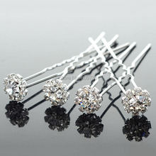 Wholesale 20PCS Chic Flower Clear Crystal Hair Clips Wedding Bridal Pearl Hair Pins Bridesmaid Jewelry Women Hair Accessories(China)