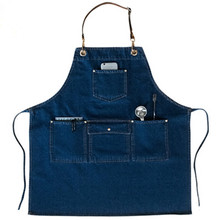 Blue Denim Long Apron w/Leather Strap Barista Catering Cafe Bakery Chef Uniform Hairstylist Salon Florist Carpenter WorkWear K82