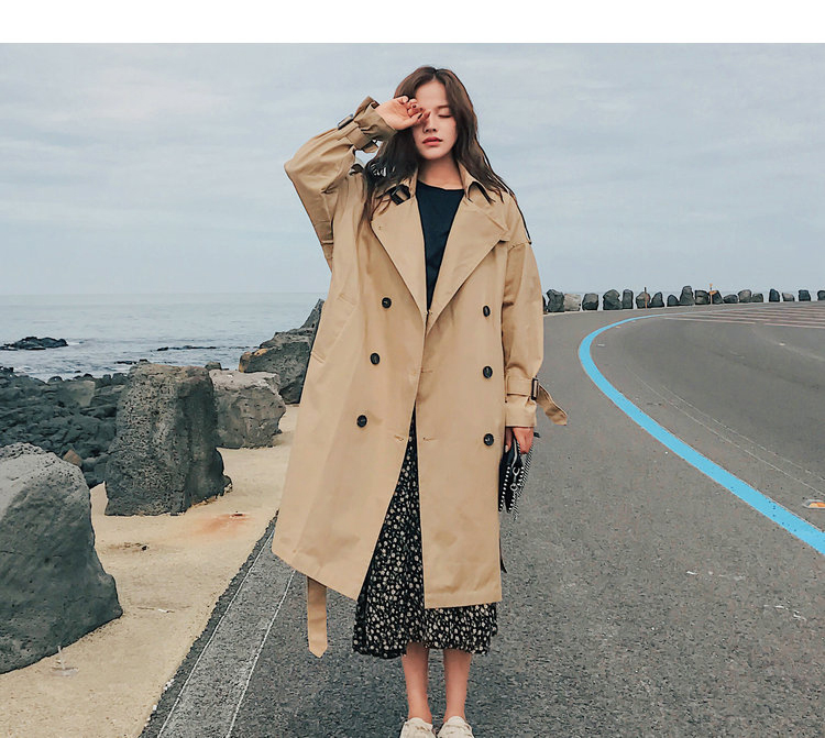 19 Fashion Brand New Women Trench Coat Long Double-Breasted Belt Khaki Office Lady Clothing Autumn Spring Outerwear Quality 6