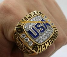 Free Shipping high quality 2016 USA Basketball Team Olympics Championship Ring With Wooden BOX Solid Fan Gift Factory Wholesale