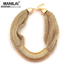 MANILAI Hot Sale Design Fashion Women Charm Choker Necklace Chunky Collar Rope Chain Statement Necklaces Wholesale gift 2017