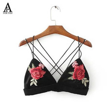 Camisol summer women flower embroidery Velvet tank top cross cross bralette swimsuit sexy beach tops cheap clothes china(China)