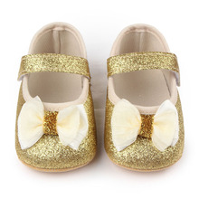 Fashion New Baby Shoes First Walkers Girls Toddlers Hot Newborn Bowknot Bling Prewalkers Bright Cute Princess(China)