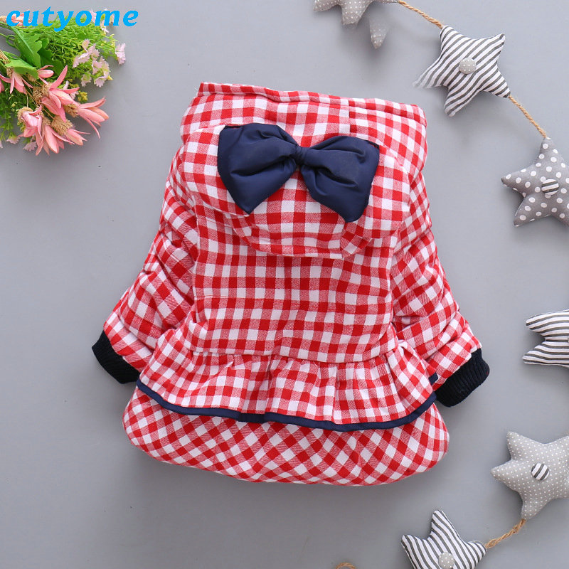 Cutyome Newborn Baby Girls Outwear Coats Hooded Plaid With Bow Cotton Winter Jackets Children Infant Padded Thick Jacket Clothes (11)