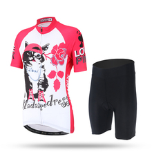 XINTOWN Women's Cycling Clothing Bike Bicycle Short Sleeve Cycling Jersey Top Team MTB Wear Pro Girls Sportswear Hat Cat