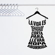 Spanish Clothing Quote Decals Vinyl Wall Sticker Laday's Young Girl's Fitting Room Cloakroom Fashion Store Wardrobe Decoration(China)