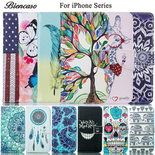 Biencaso Wallet Flip PU Leather TPU Silicone Case For iPhone 8 7 Plus 6 6S 5 5S 5C iPhone6 Plus iPod Touch 5 6 Cover Coque B0(China)