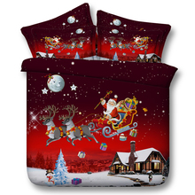 Luxury Christmas Gift Santa Claus Reindeer Flying Across Sky Print Red 4 Pcs Bedding Sets Duvet Cover Bedspread Queen Twin Size(China)