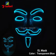 10 COLOR Option Vendetta EL wire Mask Flashing Cosplay LED MASK Costume Anonymous Mask for Glowing dance Carnival Party Masks(China)