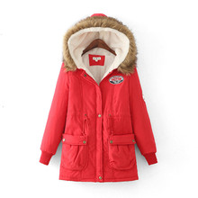 2017 New Fashion Winter Coat Long Hooded Lambs Wool Draw String Cotton-padded Clothes Woman Warm Parkas Thicken Jacket Outwear(China)