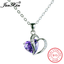 JUNXIN New Fashion Red Blue White Yellow Green Purple Women Heart Necklaces & Pendants 100% Real 925 Sterling Silver Jewelry
