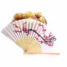 Classics Fancy White Chinese Silk Bamboo Hand Held Folding Pink Plum Blossom Wedding Party Fan(China)