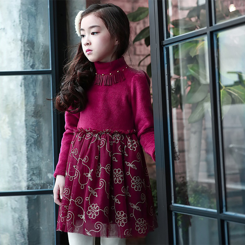 Increase Down Princess Winter Childrens Garment Child Dress Gauze Korean Original Single Keep Warm Kids Clothing <br>