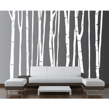 2017 New White Birch Tree Large Wall Decal Forest Vinyl Sticker Nursery Removable 9 trees