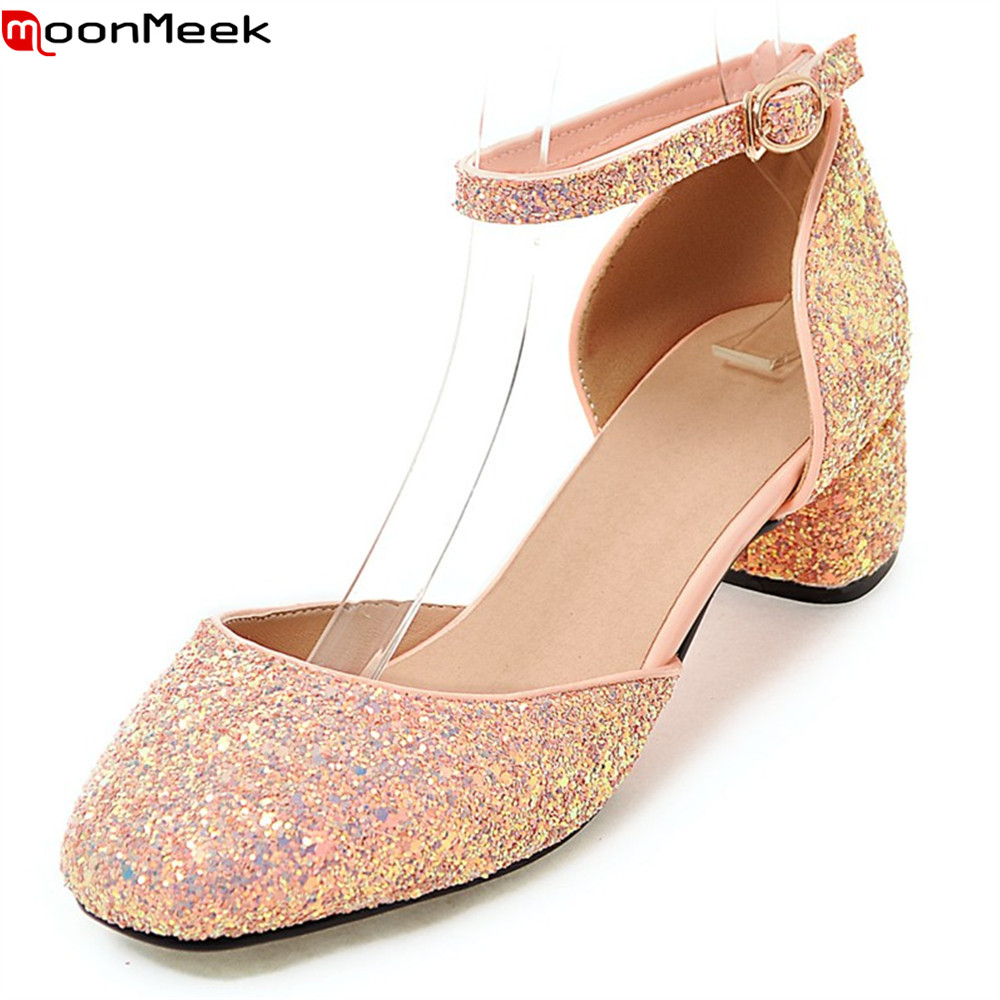 MoonMeek 2018 hot prevail sweet pumps women shoes high heels square toe with buckle square heel elegant female shoes<br>
