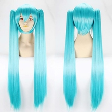 "40""100cm long length straight Hatsune MIKU light blue Cosplay wigs,100% Top imported Kanekalon fiber synthetic hair party wig"