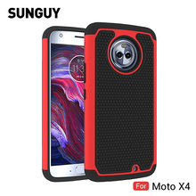 For Motorola Moto X4 Case, SUNGUY Anti-knock Drop Protection Soft Silicone+Hard PC Hybrid Armor Defender Protective Case Cover(China)