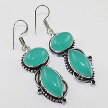 Chalcedony  Earrings  Silver Overlay over Copper , 57 mm, E1052