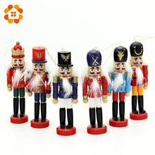 6pcs Nutcracker Puppet Zakka Creative Desktop Decoration 12cm Wood Made Christmas Ornaments Drawing Walnuts Soldiers, Band Dolls(China)