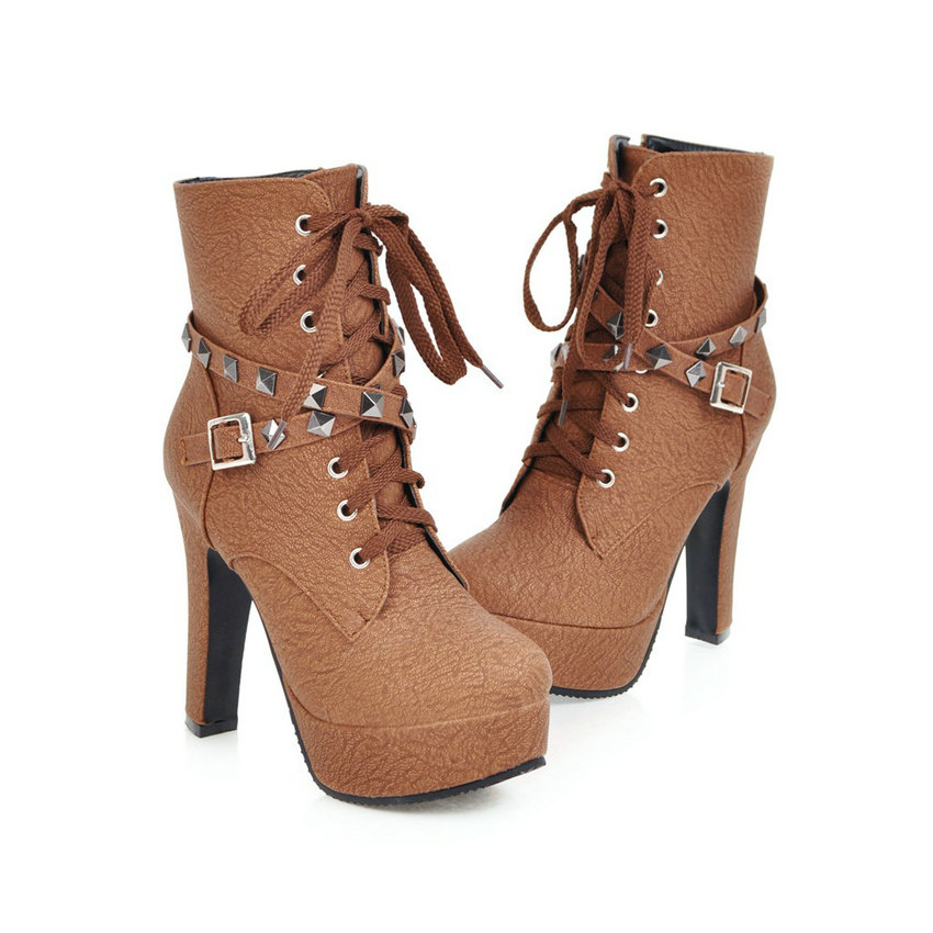 2018 Women's Ankle Boots, Rivet Design Round Toe, Pu Leather, Rubber Square High Heel, Zipper Women Boots 28