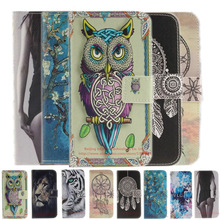 Owl lion tiger Leather Phone Case For Sony Xperia M4 Aqua Dual E2303 E2333 Cases Cover Back Cover Flip Shell Stand Wallet Holder