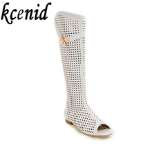 Kcenid Plus size 34-47 summer boots sexy cut-out knee high boots women shoes peep toe buckle low heel white lady fashion shoes