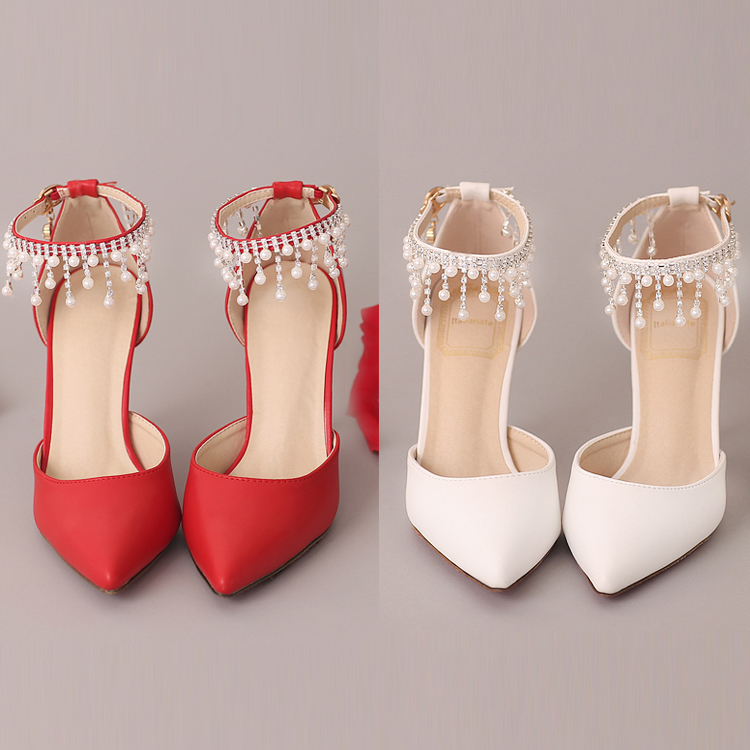 White Pearl Rhinestone red bridal Shoes pointed Toe Ultra High Heels Wedding Shoes wristband Thin Heels Female Adult sandals<br>