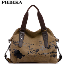 PHEDERA Brand Printing Canvas Women Shoulder Bags Pattern Casual Female Handbags Vintage Women Hand Bag Khaki/Coffee/Red Purse(China)