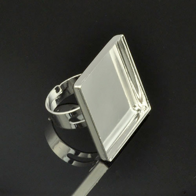 20pcs 25mm Adjustable Silver Plated Ring Base Setting Blanks 1Inch Square Bezel DIY Cabochon J120137
