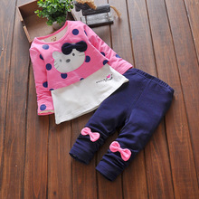 Baby Girls Spring Clothing Sets Baby Girl's Brand Clothing Sets Children's suit sets Kid Apparel set T-shirt+Pant Cute Cat