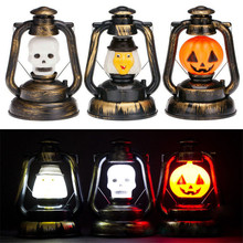2016 1 PC Halloween Pumpkin Skull Witch Portable Ghost Lantern Night Light  Horrible Hanging LED Light Lamp Decoration VBY10 T50