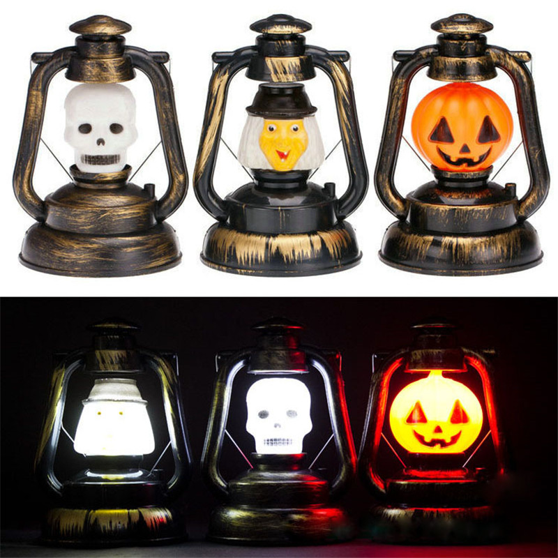 2016 1 PC Halloween Pumpkin Skull Witch Portable Ghost Lantern Night Light Horrible Hanging LED Light Lamp Decoration VBY10 T50(China)