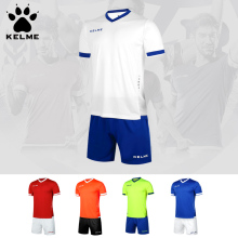 KELME 2017 Men's Team Soccer Sets Custom Training Short sleeves Jerseys Shorts For Football Survetement High Quality K15Z212(China)