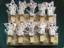 120pcs Love Cat Wooden Clips Wooden Photo Pegs Pin Clothespin for Children's Party Birthday Celebrated Favor Gift Decorations