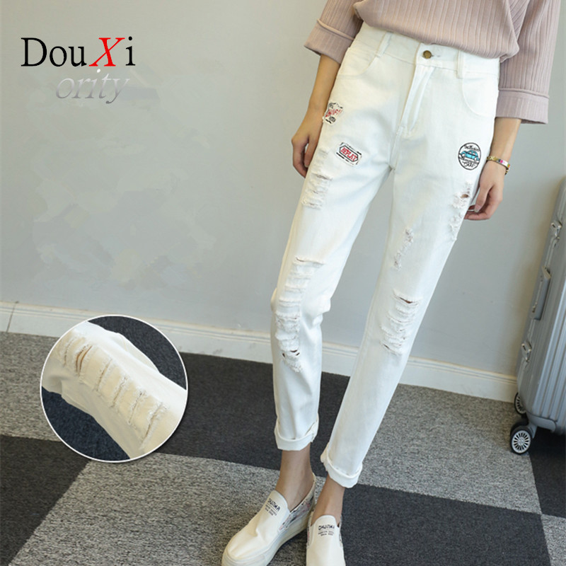 2017 white hole ripped jeans women jeggings cool denim high waist pants capris female skinny black casual jeans Large Size 5XLОдежда и ак�е��уары<br><br><br>Aliexpress