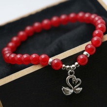 Fashion Bracelets Natural Stone 6mm Classic Popular Red beads Chalcedony Bracelet hand chain Pendant Swan Jewelry making(China)