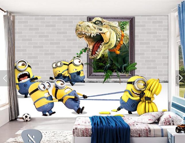 Custom animation wallpaper,Small yellow man &amp; dinosaur cartoon mural for the childrens room living room bedroom wallpaper<br>