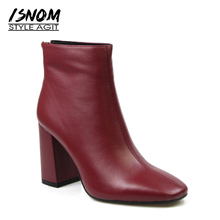 Natural Leather Ankle Boots Back Zipper Female Footwear 2017 New Arrival Winter Boots Women's High Square Heel Shoes Brand(China)