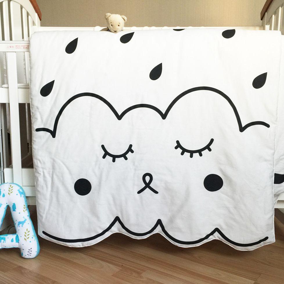 Newborn Baby Blanket, Cotton White Black Floor Playing Mat Carpet,Cartoon Kids summer quiltl,Size 130X90cm,550g<br><br>Aliexpress