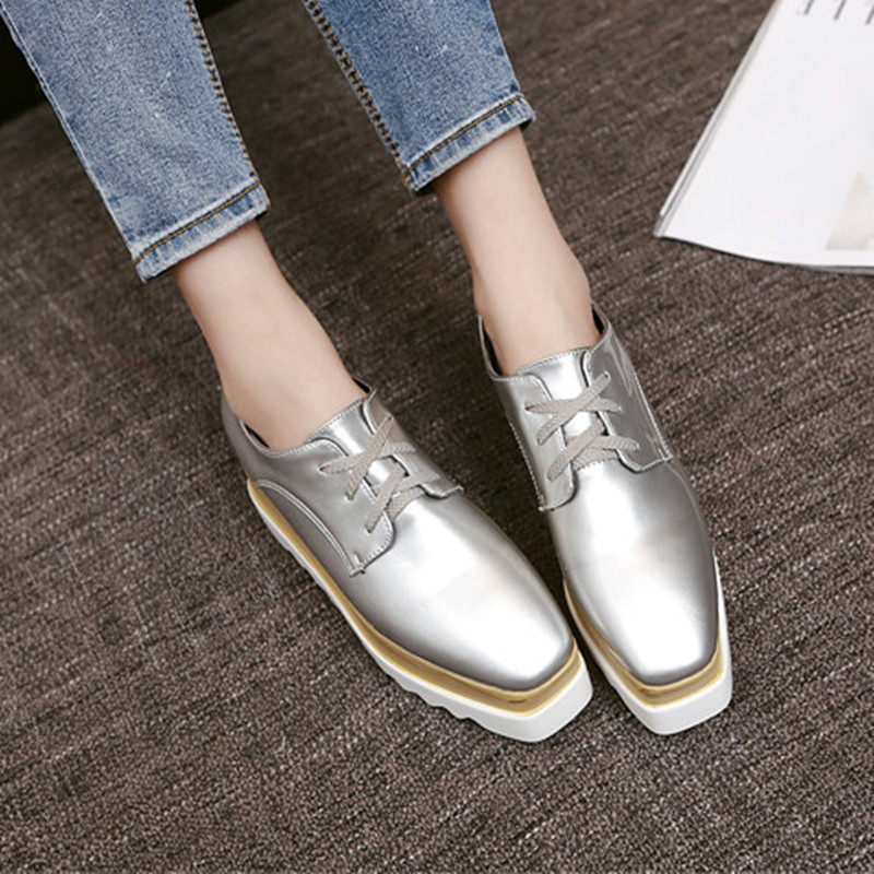 2017 New Autumn Pu Women Shoes British Style Square Toe Platform Shoes Woman Casual Flat Shoes Women Increasing Height<br><br>Aliexpress