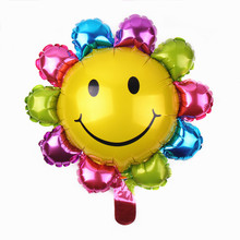 XXPWJ Free shipping mini sunflowers aluminum balloons decorated children's birthday party balloon toy wholesale B-041(China)